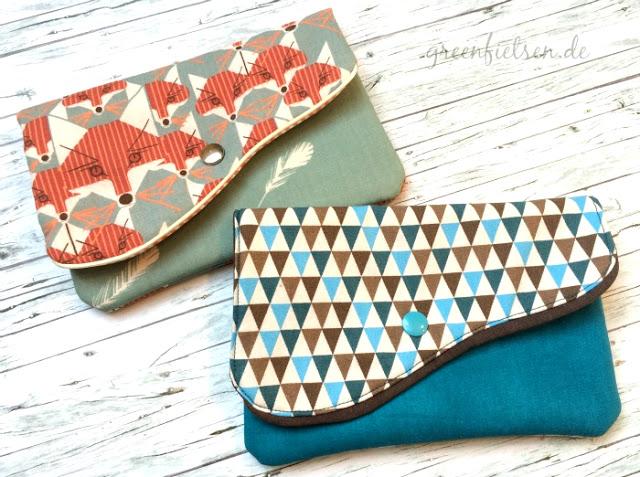 Zwei GO'nJO-Täschchen mit Fuchs-Motiv und Dreiecken