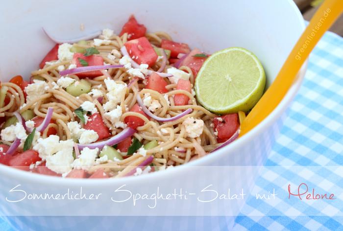 Sommerlicher Spaghetti-Salat mit Melone {Rezept und Linkparty}