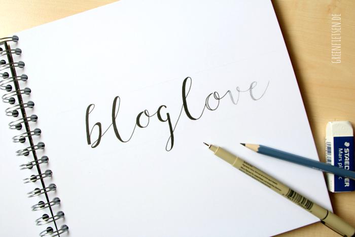 "Handlettering ""bloglove"" | greenfietsen.de"