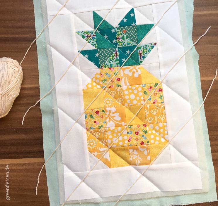 Ananas Mini Quilt im Entstehen