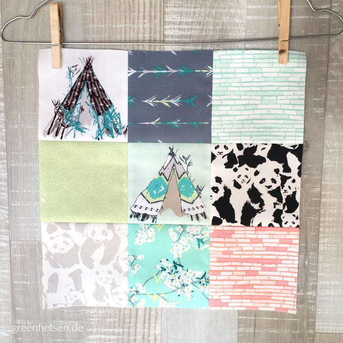 Quilt Block aus der Stoffserie Pandalicious von Katarina Roccella