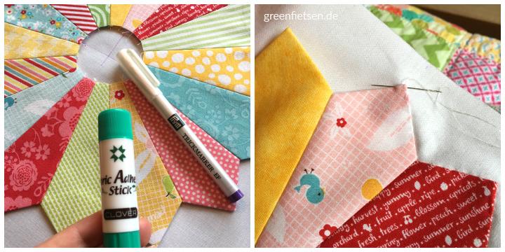 6 Köpfe - 12 Blöcke | Dresden Plate - mit Textilklebestift fixiert und mit Handstichen aufgenäht