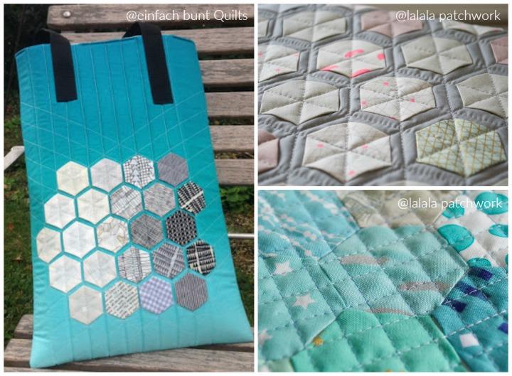 Laptoptasche von Verena (einfach bunt Quilts) und Modern-Hexie-Arbeiten von Dorthe (lalala patchwork)